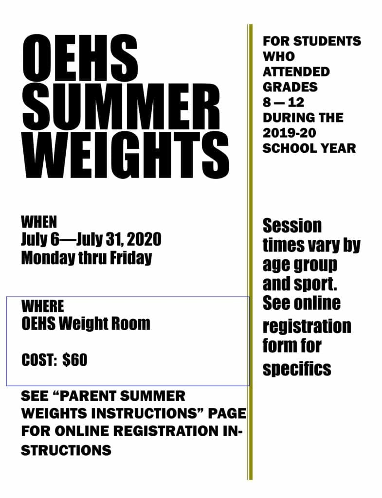 OEHS Weights flier July 2020 UPDATED