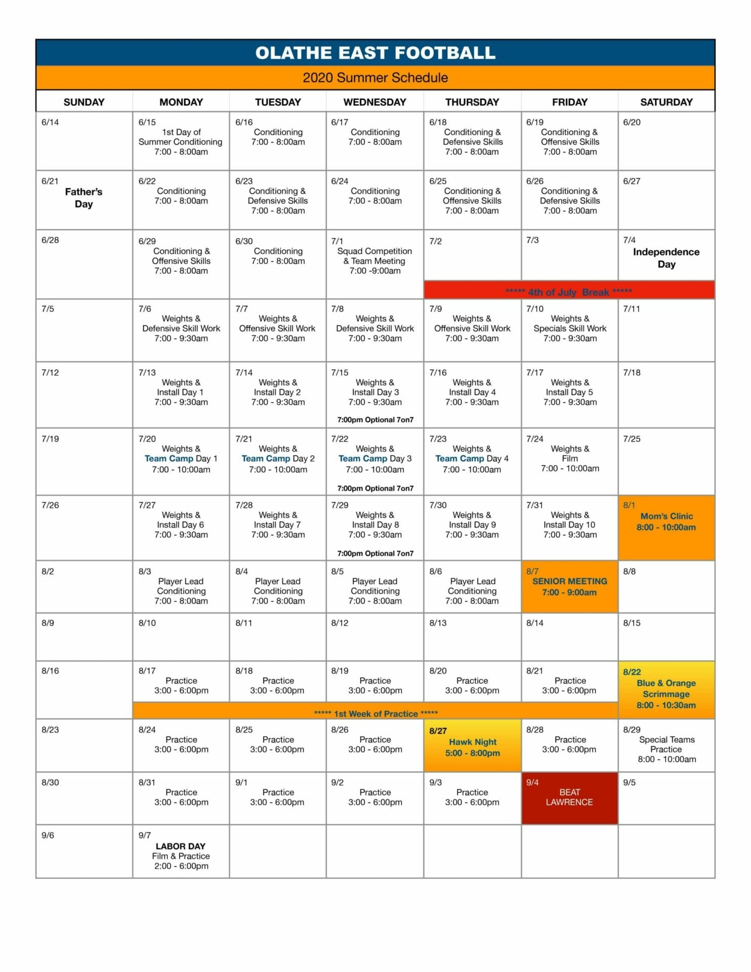 Season Calendar 2020